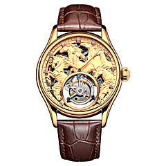 お買い得  メンズ腕時計-Angela Bos 男性用 機械式時計 手巻き式 50 m 耐水 透かし加工 カジュアルウォッチ 本革 バンド ハンズ ぜいたく ファッション ブラック / ブラウン - ゴールド シルバー ローズゴールド / ステンレス