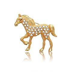 abordables Bijoux pour Femme-Femme Diamant Corde Broche - Cheval Artistique, Asiatique, simple Broche Or Pour Soirée / Valentin