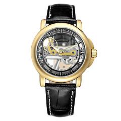 お買い得  メンズ腕時計-WINNER 男性用 機械式時計 自動巻き ブラック / ブラウン 耐水 透かし加工 クリエイティブ ハンズ カジュアル ファッション - ブラウン / ゴールド ブラック / シルバー ホワイト / ベージュ / ステンレス