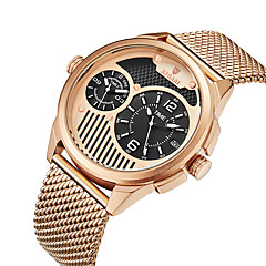 preiswerte Herrenuhren-Herrn Armbanduhr Quartz Schwarz / Blau / Rotgold 30 m Duale Zeitzonen Armbanduhren für den Alltag Cool Analog Freizeit Modisch - Blau Rotgold Schwarz / Rotgold
