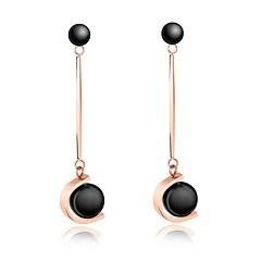 preiswerte Ohrringe-Damen Gliederkette Tropfen-Ohrringe - Perle, Titanstahl, Rose Gold überzogen Stilvoll Weiß / Schwarz Für Strasse