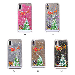 Недорогие Кейсы для iPhone 7 Plus-Кейс для Назначение Apple iPhone X / iPhone XS Движущаяся жидкость / Прозрачный / С узором Кейс на заднюю панель Рождество Твердый ПК для iPhone XS / iPhone X / iPhone 8 Pluss