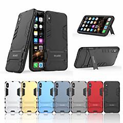 Недорогие Кейсы для iPhone-Кейс для Назначение Apple iPhone XS Max Защита от удара / со стендом Кейс на заднюю панель Однотонный Твердый ПК для iPhone XS Max