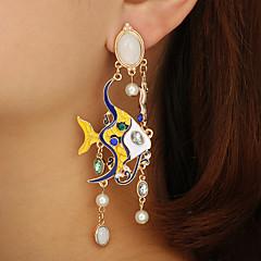 preiswerte Ohrringe-Damen Glasperlen Tropfen-Ohrringe - Künstliche Perle Fische Luxus, Retro, Tropisch Gold Für Festtage Festival