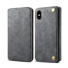 Недорогие Кейсы для iPhone X-Кейс для Назначение Apple iPhone 8 / iPhone XR / iPhone XS Max Бумажник для карт / Защита от удара / со стендом Чехол Однотонный Твердый Кожа PU для iPhone XS / iPhone XR / iPhone XS Max