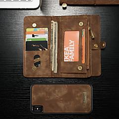 Недорогие Кейсы для iPhone-CaseMe Кейс для Назначение Apple iPhone XS Max Кошелек / Бумажник для карт / со стендом Чехол Однотонный Твердый Кожа PU для iPhone XS Max