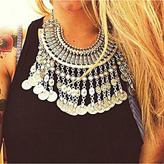 お買い得  ネックレス-女性用 ヴィンテージネックレス  -  タッセル, 誇張, エスニック ゴールド, シルバー 45+5 cm ネックレス ジュエリー 1個 用途 祭り