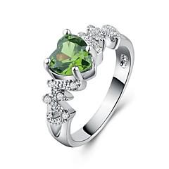 preiswerte Ringe-Damen Grün Kubikzirkonia Klassisch Ring - Platiert, Diamantimitate Herz Romantisch, Modisch, Elegant 6 / 7 / 8 / 9 / 10 Grün Für Geschenk Party
