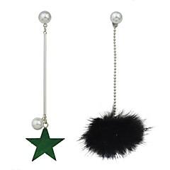 preiswerte Ohrringe-Damen Nicht übereinstimmend Unterschiedliche Ohrringe - Künstliche Perle Stern Grundlegend, Modisch Weiß / Schwarz Für Alltag Verabredung