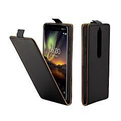 Недорогие Чехлы и кейсы для Nokia-Кейс для Назначение Nokia Nokia 6 2018 Бумажник для карт / Флип Чехол Однотонный Твердый Кожа PU для Nokia 6 2018