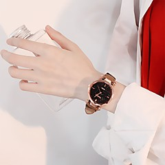 preiswerte Damenuhren-Damen Kleideruhr Quartz Armbanduhren für den Alltag Leder Band Analog Modisch Minimalistisch Schwarz / Rot / Braun - Braun Rot Rosa