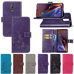 cheap Other Cases-Case For OnePlus OnePlus 6 / One Plus 6T Card Holder / with Stand / Flip Full Body Cases Solid Colored / Butterfly Hard Textile for OnePlus 6 / One Plus 6T / One Plus 5
