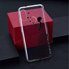 Недорогие Чехлы и кейсы для Xiaomi-Кейс для Назначение Xiaomi Xiaomi Pocophone F1 / Xiaomi Redmi 6 Pro Прозрачный / С узором Кейс на заднюю панель Бабочка / Соблазнительная девушка Мягкий ТПУ для Xiaomi Redmi Note 6 / Xiaomi Pocophone