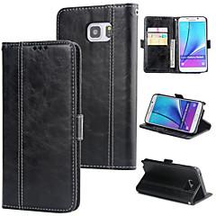 Недорогие Чехлы и кейсы для Galaxy Note 5-Кейс для Назначение SSamsung Galaxy Note 5 Кошелек / Бумажник для карт / Флип Кейс на заднюю панель Однотонный Твердый Кожа PU для Note 5