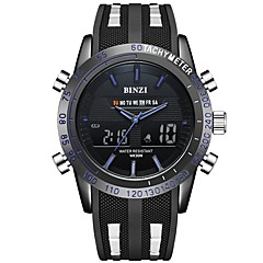 preiswerte Herrenuhren-Herrn Sportuhr digital Kalender Stopuhr Armbanduhren für den Alltag Silikon Band Analog-Digital Freizeit Schwarz - Schwarz Rot Blau