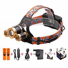 お買い得  ヘッドランプ-U'King ヘッドランプ 自転車用ヘッドライト LED LED 3 エミッタ 4800 lm 3 4.0 照明モード バッテリー&チャージャー付き ズーム可能, 焦点調整可, 小型 キャンプ / ハイキング / ケイビング, 日常使用, サイクリング