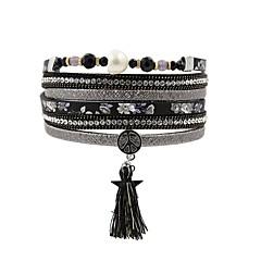 preiswerte Armbänder-Damen Mehrschichtig Lederarmbänder - Retro Armbänder Schmuck Schwarz Für Geschenk Alltag