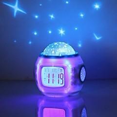 お買い得  クロック-音楽星空投影目覚まし時計スヌーズデジタルled目覚まし時計カレンダー温度計投影ライト