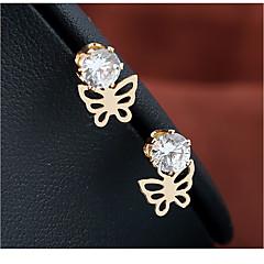 preiswerte Ohrringe-Damen Ohrstecker - vergoldet Diamantimitate Schmetterling Einfach Schmuck Gold Für Hochzeit Geburtstag Verabredung Strasse 1 Paar