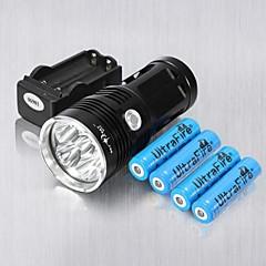 お買い得  携帯式フラッシュライト-3 LED懐中電灯 LED 6 エミッタ 6000 lm 耐衝撃性, 充電式, ストライクベゼル キャンプ / ハイキング / ケイビング, 日常使用, サイクリング