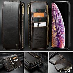 Недорогие Кейсы для iPhone 7 Plus-CaseMe Кейс для Назначение Apple iPhone X / iPhone XS Max Кошелек / Бумажник для карт / со стендом Чехол Однотонный Твердый Кожа PU для iPhone XS / iPhone XR / iPhone XS Max