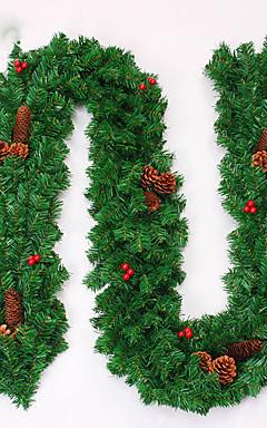 رخيصةأون -عيد الميلاد اكليلا من الزهور إبر الصنوبر زينة عيد الميلاد ل27CM القطر حزب الوطن نيفيداد الإمدادات العام الجديد
