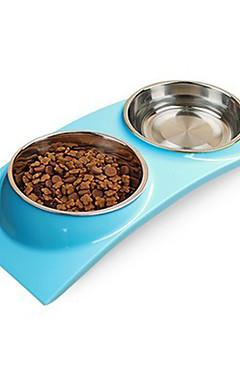 رخيصةأون -قط كلب الطاسات وزجاجات بلاستيك مقاوم للماء لون سادة أخضر أزرق زهري السلطانيات والتغذية