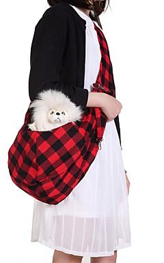 رخيصةأون -كلاب قطط حقيبة الكتف حيوانات أليفة حاملات المحمول تصميم الكارتون السفر Plaid / Check أحمر أسود / أبيض