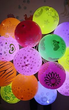 رخيصةأون -12 قطع أضواء led بالون فلاش مضيئة مصابيح فانوس بار عيد حفل زفاف الديكور ورقة فانوس ضوء بالون