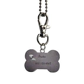 ieftine Noutăți-Produse Personalizate-Personalizate cadouri Bone Forma roz și negru Pet Id Name Tag cu lanț pentru câini