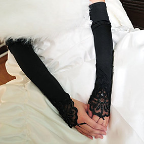 voordelige Handschoenen & Wanten-Stretchsatijn / Katoen Polslengte / Operalengte Handschoen Amulet / Stijlvol / Bruidshandschoenen Met Borduurwerk / Effen