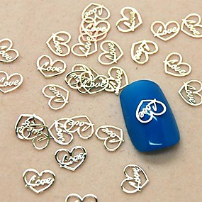 cheap Makeup & Nail Care-200pcs love heart design slice metal nail art decoration