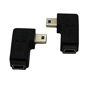 billige PC- og tablettilbehør-højre / venstre vinklet 90 grader mini usb mandlige og kvindelige forlængelse adapter Conventer