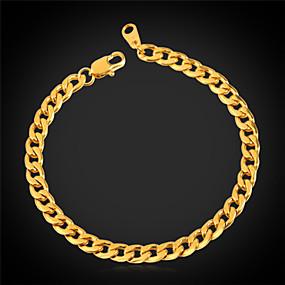 billige Smykker og ure-Dame Curb Chain Kæde & Lænkearmbånd Armbånd Rustfrit Stål Guldbelagt Damer Mode Dubai Armbånd Smykker Til Bryllup Fest Speciel Lejlighed Fødselsdag Gave Daglig
