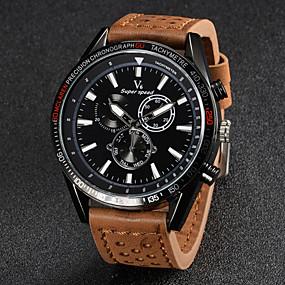 Недорогие Фирменные часы-V6 Муж. Наручные часы Авиационные часы Кварцевый Японский кварц Кожа Черный / Коричневый / Хаки Повседневные часы Аналоговый Кулоны - Черный Коричневый Хаки Два года Срок службы батареи