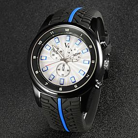 voordelige Merk Horloge-V6 Heren Polshorloge Luchtvaart Watch Kwarts Japanse quartz Rubber Zwart Analoog Zwart Rood Blauw
