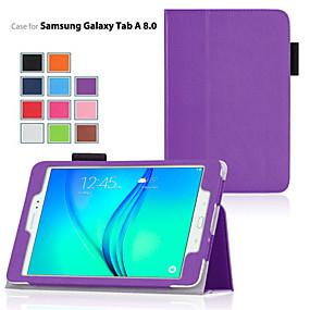Недорогие Чехлы и кейсы для Galaxy Tab A 9.7-Кейс для Назначение SSamsung Galaxy / Вкладка 8,0 / Вкладка 9,7 со стендом / Флип Чехол Однотонный Кожа PU
