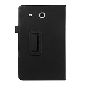 billige Etuier / covers til Samsung Tab-modellerne-Etui Til Samsung Galaxy Samsung Galaxy etui Med stativ / Flip Fuldt etui Ensfarvet PU Læder for Tab E 9.6