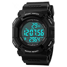 זול שעוני מותגים-בגדי ריקוד גברים שעוני ספורט שעון יד דיגיטלי דמוי עור מרופד שחור 50 m עמיד במים Alarm לוח שנה דיגיטלי קסם - שחור כחול / כרונוגרף / LED