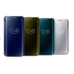 voordelige Galaxy S7 Edge Hoesjes / covers-hoesje Voor Samsung Galaxy S7 edge / S7 / S6 edge met venster / Spiegel / Flip Volledig hoesje Effen PC / Transparant