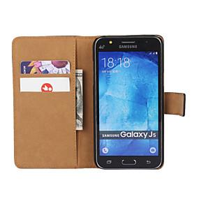 voordelige Galaxy J7 Hoesjes / covers-hoesje Voor Samsung Galaxy J7 (2016) / J7 / J5 (2016) Portemonnee / Kaarthouder / met standaard Volledig hoesje Effen PU-nahka