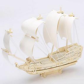 olcso Játékok & hobbi-Jigsaw Puzzle 3D építőjátékok / Fából készült építőjátékok Építőkockák DIY játékok Hajó Fa Arany Építő játékok