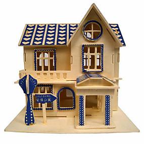 olcso Játékok & hobbi-Jigsaw Puzzle 3D építőjátékok / Fából készült építőjátékok Építőkockák DIY játékok Ház Fa Arany Építő játékok