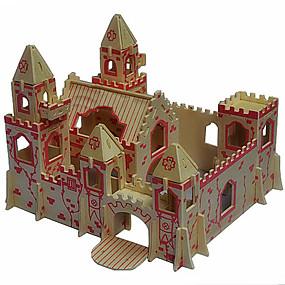 olcso Játékok & hobbi-3D építőjátékok Fából készült építőjátékok Wood Model Kastély Fa Fiú Lány Játékok Ajándék