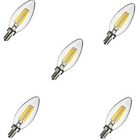 Χαμηλού Κόστους Λαμπτήρες LED με νήμα πυράκτωσης-5pcs 2 W LED Λάμπες Πυράκτωσης 220 lm E14 C35 4 LED χάντρες LED Υψηλης Ισχύος Διακοσμητικό Θερμό Λευκό Ψυχρό Λευκό 220-240 V / 5 τμχ / RoHs / CCC