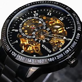 ieftine Ceasuri de Marcă-WINNER Bărbați Ceas Schelet Ceas de Mână ceas mecanic Mecanism automat Oțel inoxidabil Negru / Argint 30 m Rezistent la Apă Gravură scobită Luminos Analog Lux Vintage - Negru Auriu / Negru Argintiu