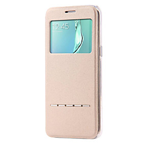 voordelige Galaxy S6 Edge Plus Hoesjes / covers-hoesje Voor Samsung Galaxy S7 edge / S7 / S6 edge plus met standaard / met venster / Flip Volledig hoesje Effen PU-nahka