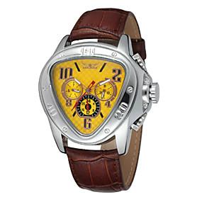 voordelige Merk Horloge-WINNER Heren Polshorloge mechanische horloges Automatisch opwindmechanisme Leer Zwart Kalender Analoog Luxe - Zwart Geel Rood / Roestvrij staal