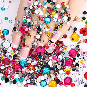 cheap Makeup & Nail Care-2000pcs nail flashing flat flat color diamond drill diy nail polish wedding accessories