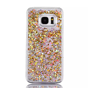 hesapli Galaxy S Serisi Kılıfları / Kapakları-Pouzdro Uyumluluk Samsung Galaxy S7 edge / S7 Akan Sıvı Arka Kapak Işıltılı Parlak Sert PC için S7 edge / S7 / S6 edge plus